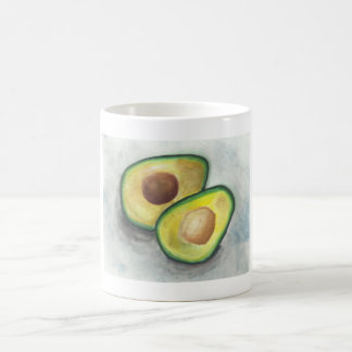 Avocado with Nut Exposed in Watercolor Coffee Mug
