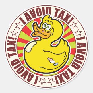 Avoid Tax Duck Round Sticker