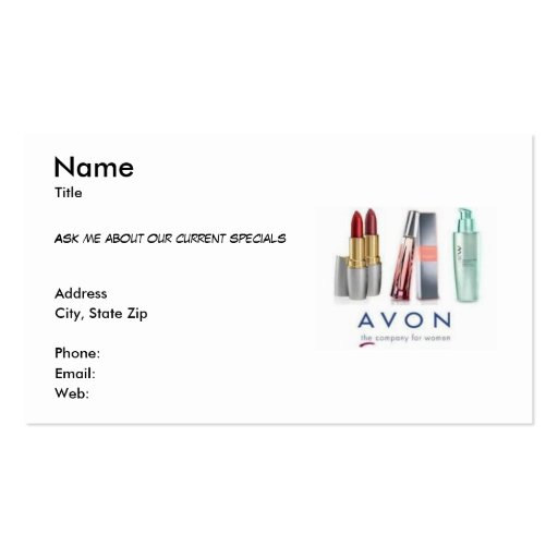Collections of avon business cards business cards avon business card reheart Images