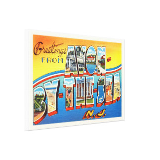 Avon by the Sea New Jersey NJ Vintage Postcard - Canvas Print