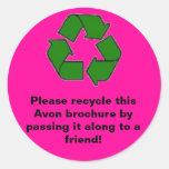 Avon:  Please recycle brochure Stickers