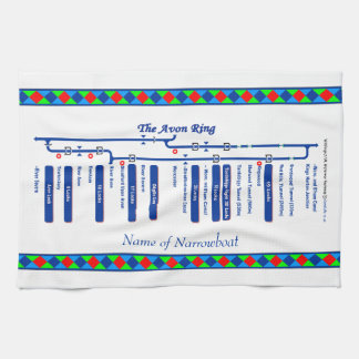 Avon Ring Canal Route UK Waterways Blue Hand Towel