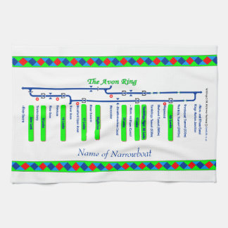 Avon Ring Canal Route UK Waterways Green Hand Towels