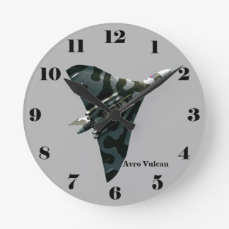 Avro Vulcan Delta Wing Bomber on gray all numbers Round Clock