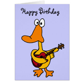 AW- Funny Duck with Guitar Birthday Card
