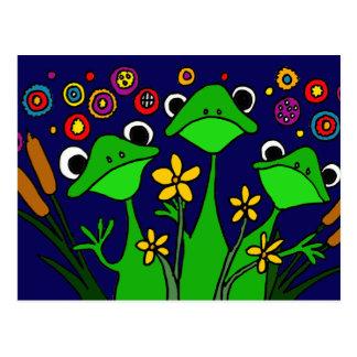 AW- Happy Frogs Folk Art Postcard