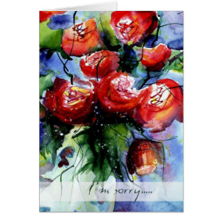 Aw, I'm sorry, please accept these roses Greeting Card