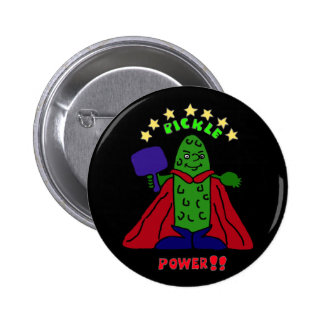 AW- Pickle Power Superhero Pickleball Cartoon 6 Cm Round Badge