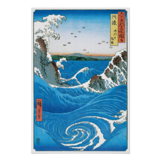 Awa Province, Naruto Whirlpools by Ando Hiroshige Poster