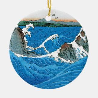 Awa Province, Naruto Whirlpools by Ando Hiroshige Round Ceramic Decoration