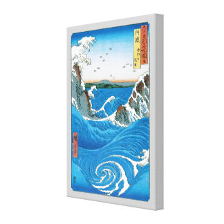 Awa Province, Naruto Whirlpools by Ando Hiroshige Stretched Canvas Print