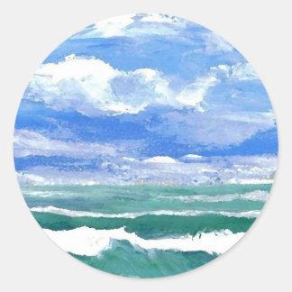 Awakening - CricketDiane Ocean Waves Art Products Round Stickers