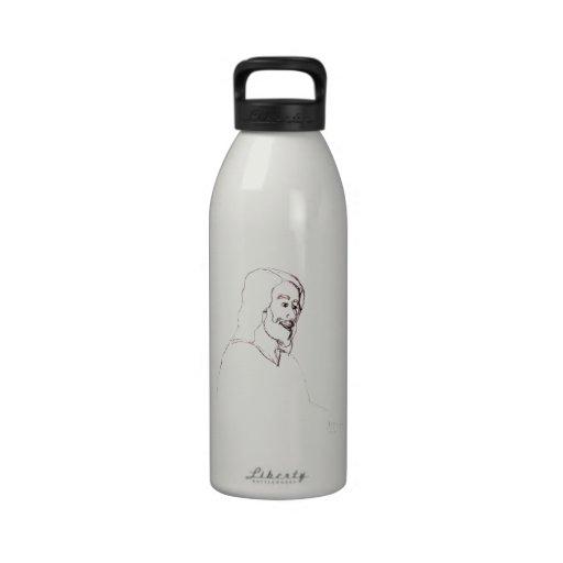 Awakening Divine Self Worth, sketch of Jesus Reusable Water Bottles