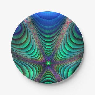 Awakening Fractal Absract Art Blue Green Paper Plate
