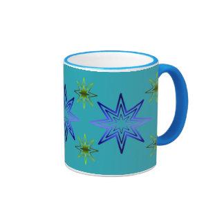 Awakening Star On Turquoise Coffee Mugs
