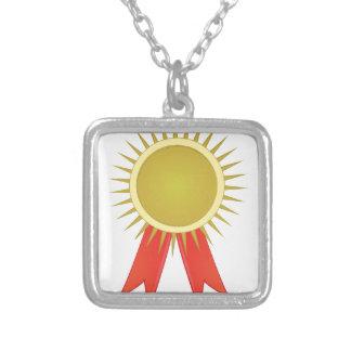 Award Ribbon Square Pendant Necklace