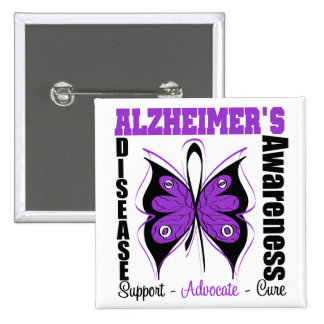 Awareness Butterfly Alzheimers Disease 15 Cm Square Badge