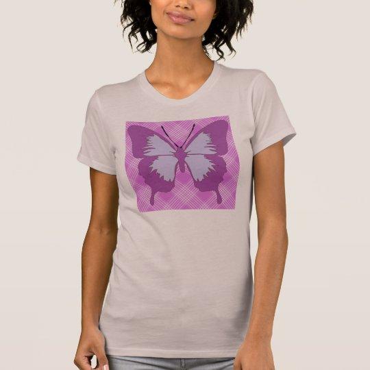 Awareness Butterfly on Purple Tartan T-Shirt