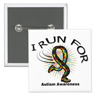 Awareness I Run For Autism 15 Cm Square Badge