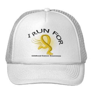Awareness I Run For Childhood Cancer Trucker Hats