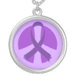 Awareness Purple Ribbon Peace Sign Jewellery Gift Necklaces