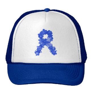 Awareness Ribbon In Blue Flowers Cap