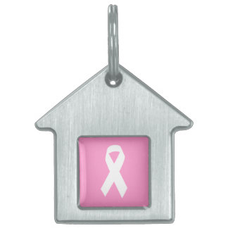 Awareness Ribbon on Pink Pet Name Tag