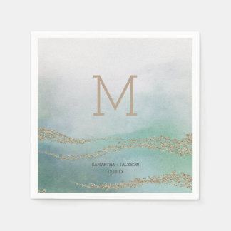 Awash Elegant Watercolor in Ocean Wedding Monogram Disposable Serviette