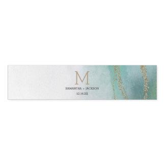 Awash Elegant Watercolor in Ocean Wedding Monogram Napkin Band