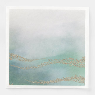 Awash Elegant Watercolor in Ocean Wedding Paper Napkins