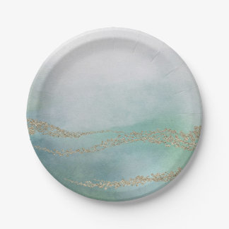 Awash Elegant Watercolor in Ocean Wedding Paper Plate