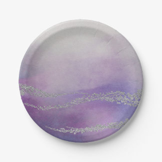 Awash Elegant Watercolor in Orchid Purple Wedding Paper Plate