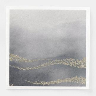 Awash Elegant Watercolor in Smoke Wedding Disposable Serviette