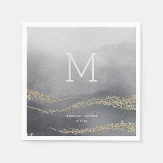 Awash Elegant Watercolor Smoke Wedding Monogram Disposable Serviette