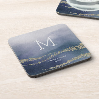 Awash Elegant Watercolor Surf Wedding Monogram Coaster