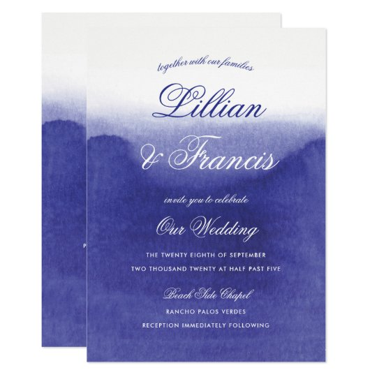 Awash with Purple Amethyst Watercolor Wedding Card
