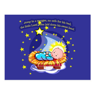 Away in a Manger Christmas Carol T-shirts, Gifts Postcard