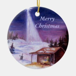 Away In a Manger, Merry Christmas Christmas Ornament