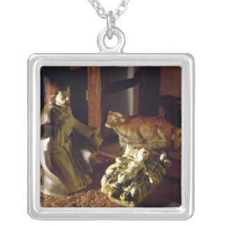 Away in a Manger Square Pendant Necklace