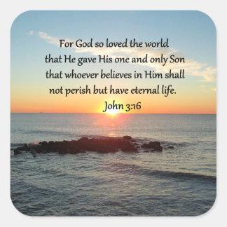 AWE-INSPIRING JOHN 3:16 SUNRISE SQUARE STICKER