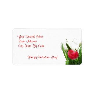 Awe inspiring Red and White Tulip Design Address Label