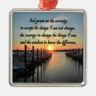 AWE-INSPIRING SERENITY PRAYER SUNSET PHOTO DESIGN Silver-Colored SQUARE DECORATION