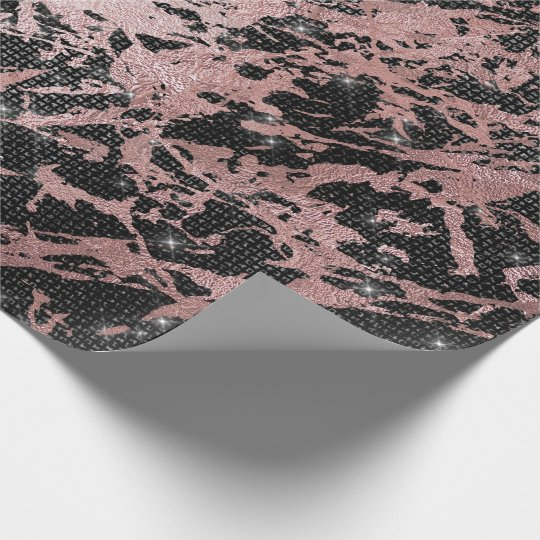 Awersome Pink Gold Marble Sparkly Urban Black Wrapping