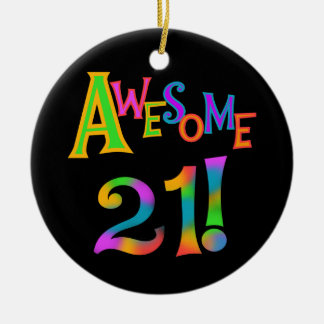 Awesome 21 Birthday T-shirts and Gifts Christmas Ornament