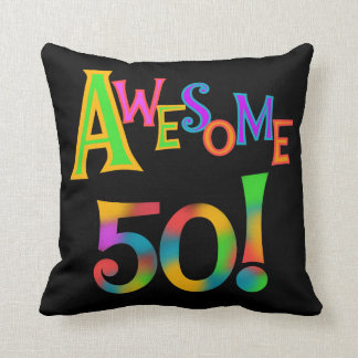Awesome 50 Birthday T-shirts and Gifts Throw Pillow