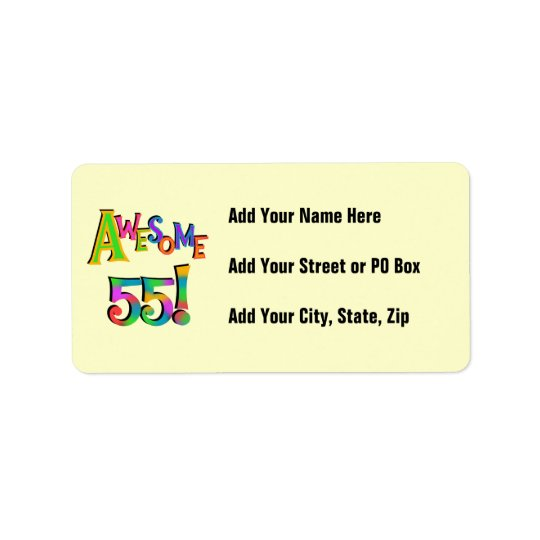 Awesome 55 Birthday T-shirts and Gifts Address Label