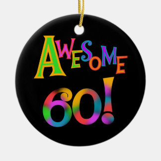 Awesome 60 Birthday T-shirts and Gifts Double-Sided Ceramic Round Christmas Ornament