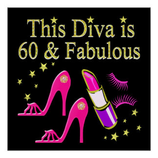 AWESOME 60TH BIRTHDAY DIVA DESIGN POSTER