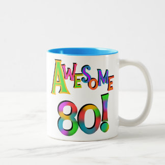 Awesome 80 Birthday T-shirts and Gifts Two-Tone Mug