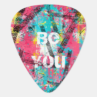 """Awesome abstract paint """"Be You"""" custom words Plectrum"""